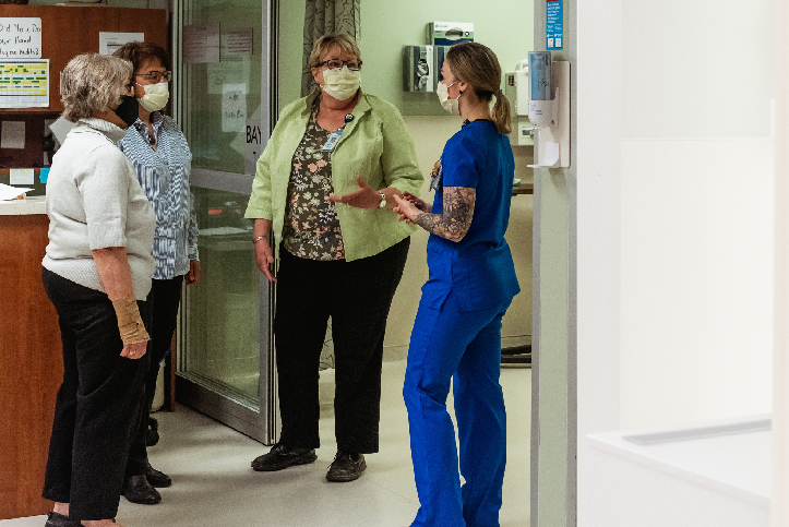 Essentia workers discuss new emergency department waiting room